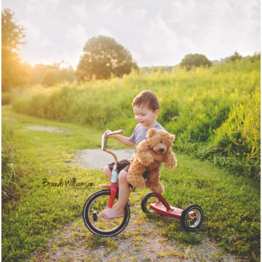 Dover OH Toddler Photographer | boy on bike with teddy bear, boy with teddy bear | Finding Me Project 52 | #findingme52 | www.brandiwilliamsonphotography.com