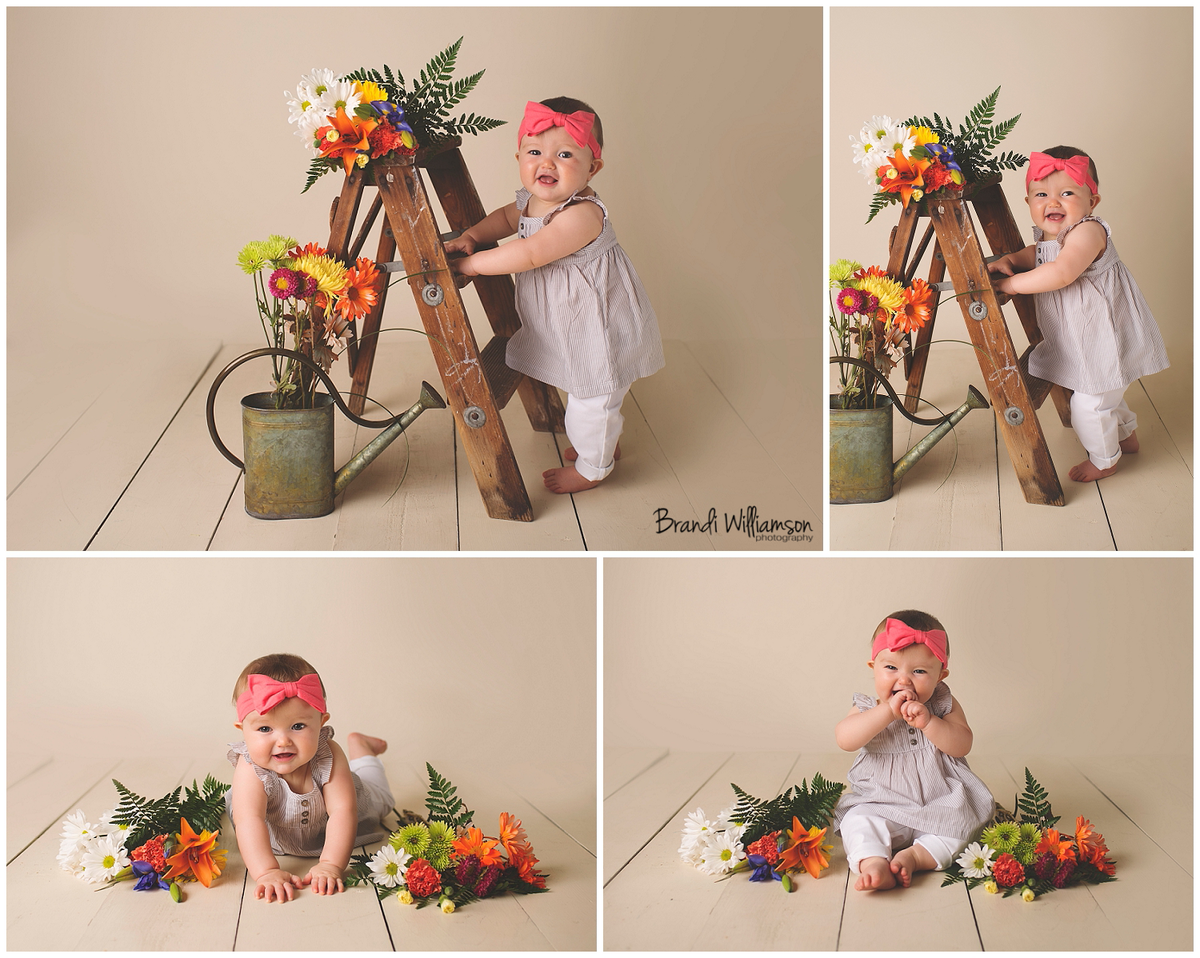 New Philadelphia Ohio Baby Photographer   9 month old baby girl session   www.brandiwilliamsonphotography.com   baby with flowers